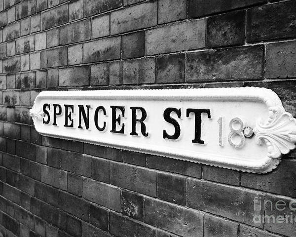 Victorian Poster featuring the photograph victorian metal street sign for spencer street on red brick building in the jewellery quarter Birmin by Joe Fox