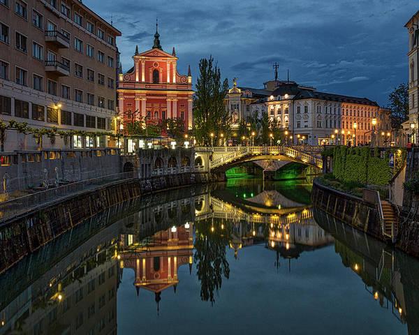 Ljubljana Poster featuring the photograph View From A Bridge - Ljubljana - Slovenia by Stuart Litoff