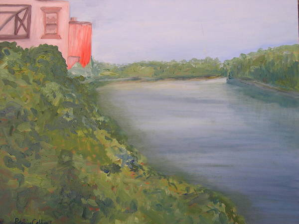 Landscape River Water Nature Poster featuring the painting View From Edmund Pettus Bridge by Patricia Caldwell