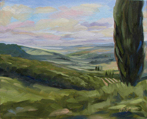 Landscape Poster featuring the painting View From Sienna by Jay Johnson