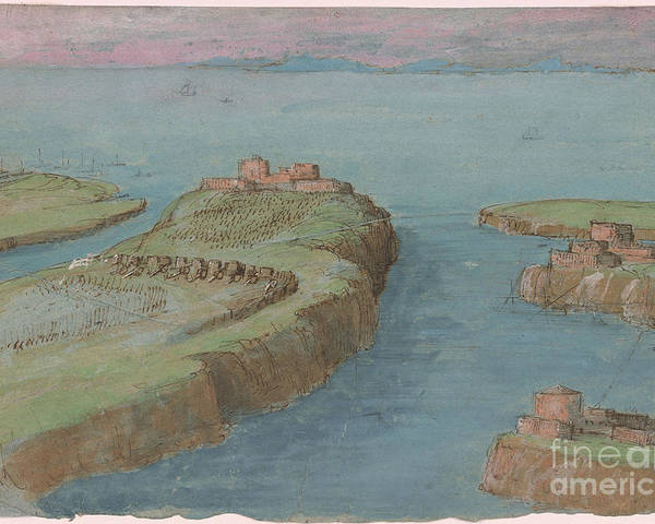 Gherardo Cibo 1512-1600 View Of A Fortified Headland. River Poster featuring the painting View Of A Fortified Headland by MotionAge Designs