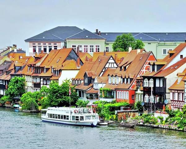 Bamberg Poster featuring the photograph View of Bamberg Riverfront by Kirsten Giving
