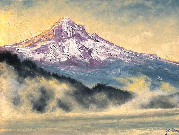 Lanscape Poster featuring the painting View Of Mt Hood by Jim Gola
