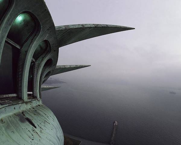 View Of New York Harbor From The Top Of The Statue Of Liberty. Poster featuring the photograph View Of New York Harbor From The Top by Paul Chesley