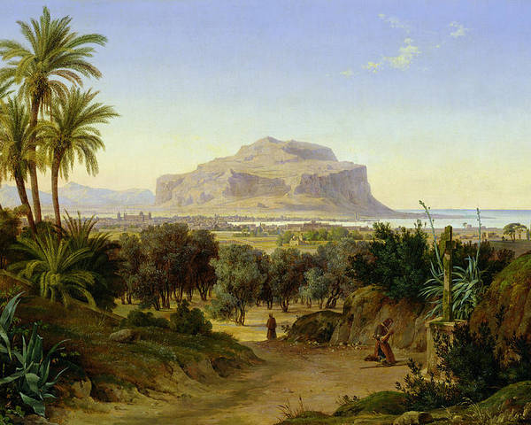 View Poster featuring the painting View Of Palermo With Mount Pellegrino by August Wilhelm Julius Ahlborn