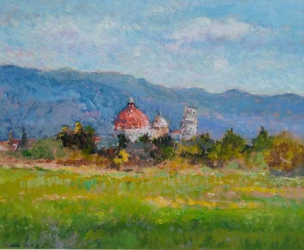 Painting Poster featuring the painting View Of Pisa From Countryside by Biagio Chiesi