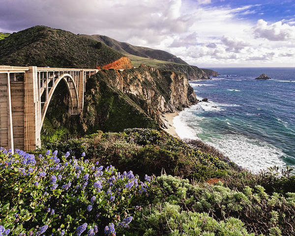Arch Bridge Poster featuring the photograph View Of The Bixby Creek Bridge Big Sur California by George Oze