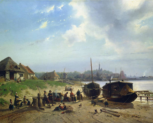 View Poster featuring the painting View Of The Dutch Coast by Johan Gerard Smits