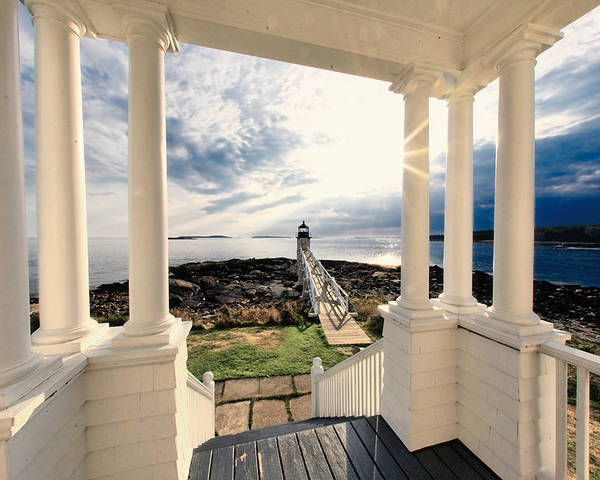 Atlantic Ocean Poster featuring the photograph View Of The Marshall Point Lighthouse From The Keeper's House by George Oze