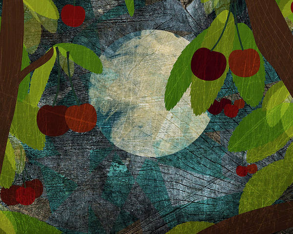 Horizontal Poster featuring the digital art View Of The Moon And Cherries Growing On Trees At Night by Jutta Kuss