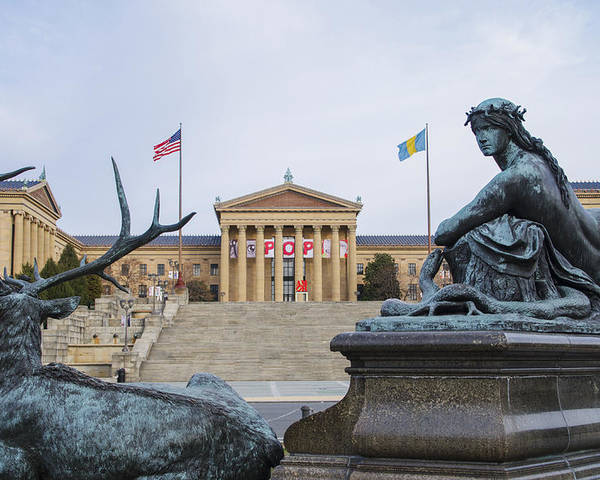 View Poster featuring the photograph View Of The Museum Of Art In Philadelphia From The Parkway by Bill Cannon