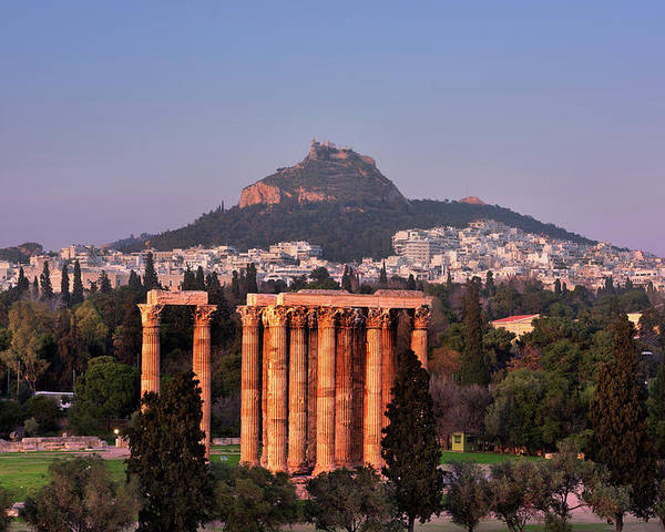 Adrian Poster featuring the photograph View Of The Temple Of Olympian Zeus And Mount Lycabettus In The by Andrey Omelyanchuk