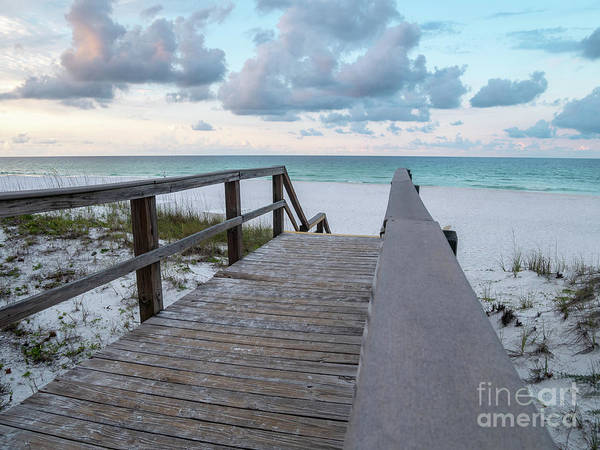 Bridge Poster featuring the photograph View Of White Sand And Blue Ocean From Wooden Boardwalk by PorqueNo Studios