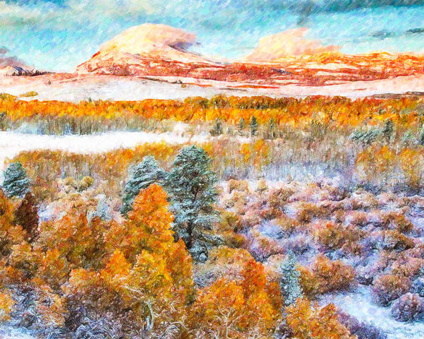 Beautiful-yosemite Poster featuring the painting View Of Yosemite National Park by Jeelan Clark