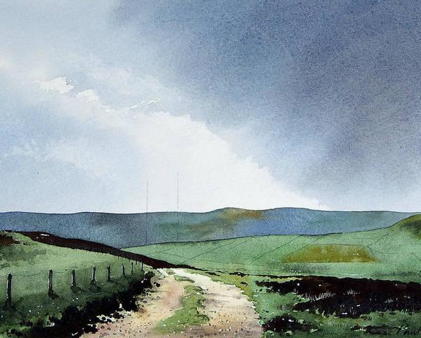 Landscape Poster featuring the painting View Over Pole Moor by Paul Dene Marlor