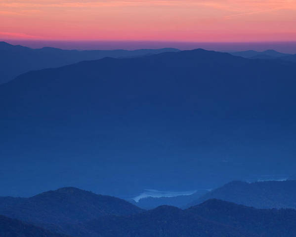 Sunset Poster featuring the photograph View Towards Fontana Lake At Sunset by Andrew Soundarajan