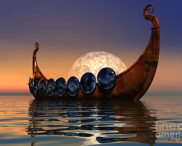 Viking Poster featuring the painting Viking Boat by Corey Ford