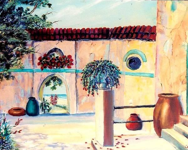 Villas Poster featuring the painting Villa De Azul by Joan Gossett