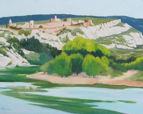 Landscape Poster featuring the painting Village Above L'ardeche by Roxanne Rodwell