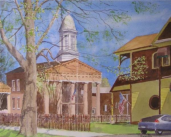 Hybrid Car Old Village Hall With Flags Poster featuring the painting Village Hall- Montour Falls by Joseph Stevenson