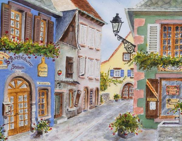 Village Poster featuring the painting Village In Alsace by Mary Ellen Mueller Legault
