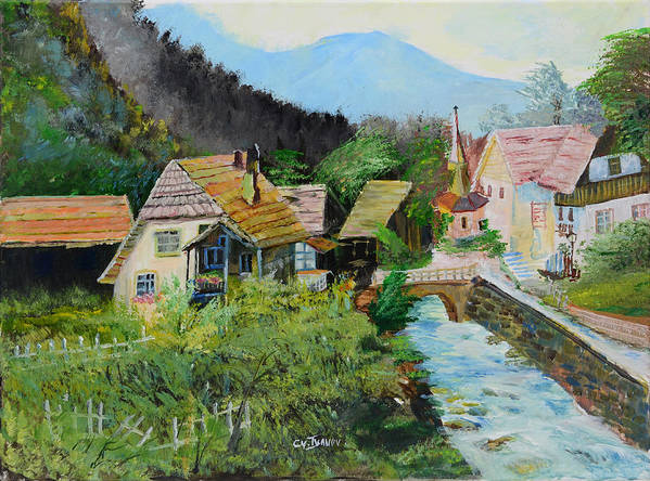 Village Poster featuring the painting Village In The Austrian Alps by Cvetko Ivanov