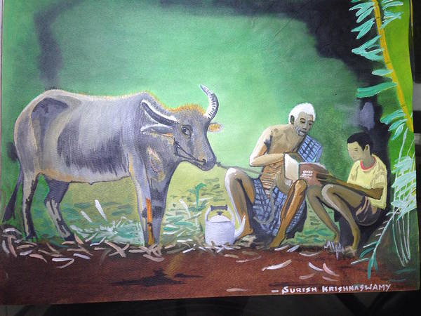 Village Life Poster featuring the painting Village Life by Suresh Krishnaswamy