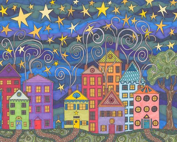Village Poster featuring the drawing Village Lights by Pamela Schiermeyer