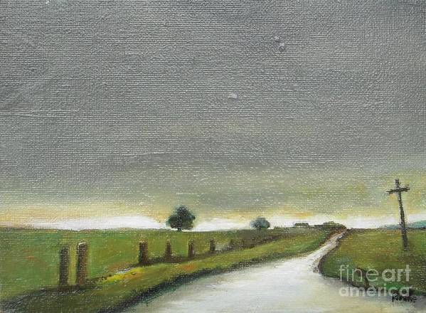 Landscape Poster featuring the painting Village Road In The Twilight by Vesna Antic