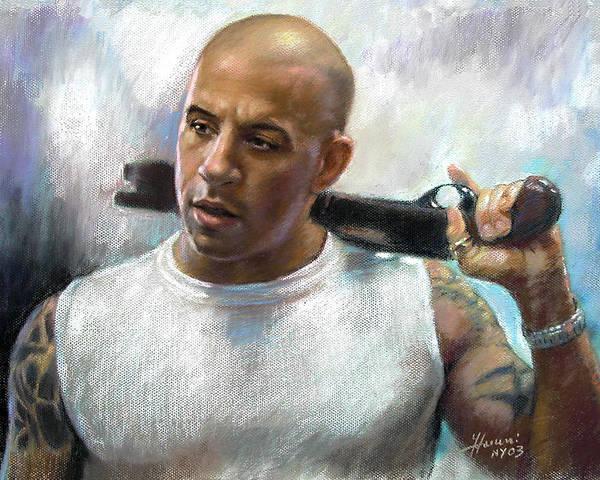 Vin Diesel Poster featuring the pastel Vin Diesel by Ylli Haruni