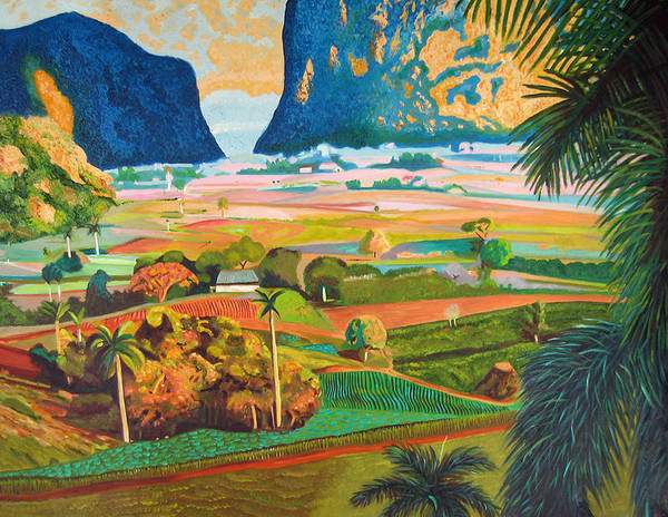 Cuban Art Poster featuring the painting Vinales by Jose Manuel Abraham
