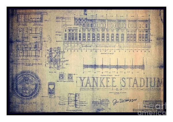 Vintage 1920s art deco yankee stadium blueprint autographed by joe peter g ogden poster featuring the drawing vintage 1920s art deco yankee stadium blueprint autographed by malvernweather Image collections