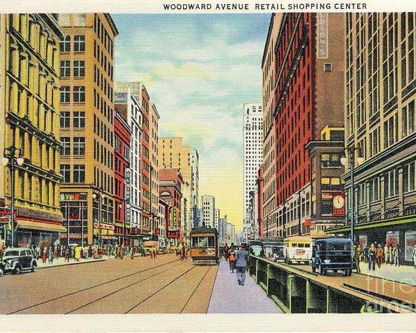Detroit Poster featuring the digital art Vintage Detroit Woodward Avenue by Heidi De Leeuw