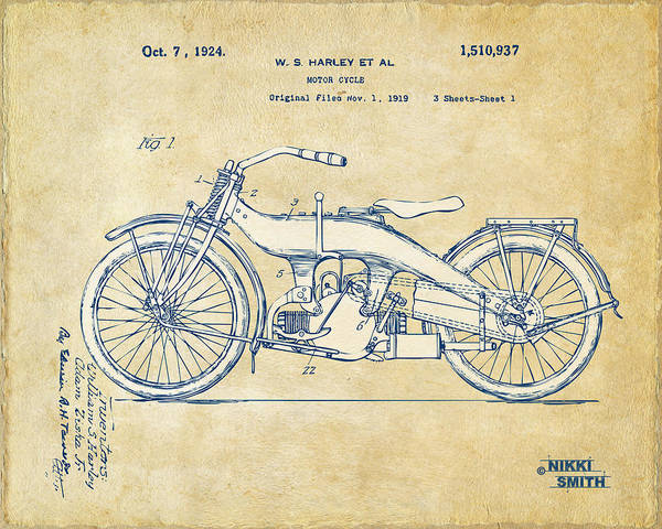 Harley-davidson Poster featuring the drawing Vintage Harley-davidson Motorcycle 1924 Patent Artwork by Nikki Smith