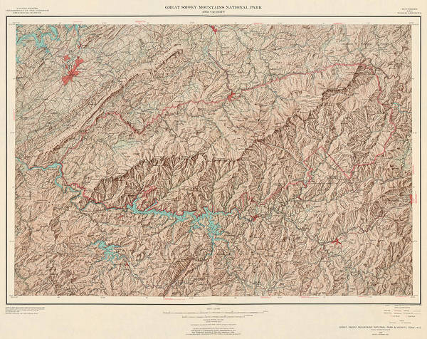 smoky mountain topographic map Vintage Map Of Great Smoky Mountains National Park Usgs