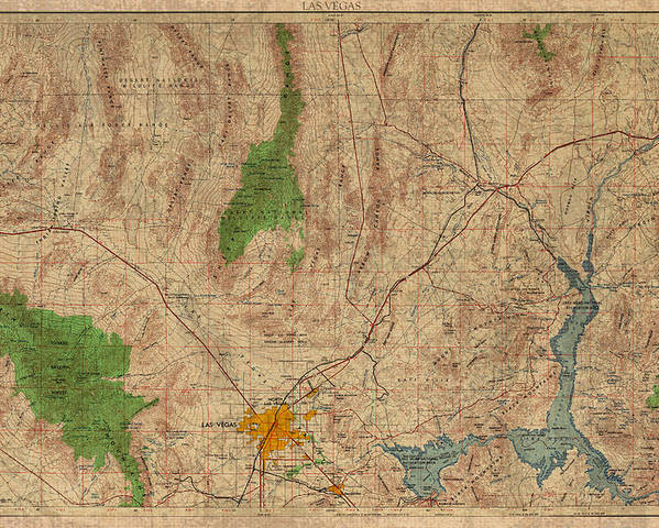 Vintage Map Of Las Vegas Nevada 1969 Aerial View Topography On ...