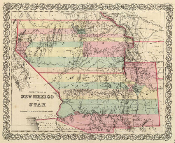 New Mexico Poster featuring the drawing Vintage Map Of New Mexico And Utah - 1857 by CartographyAssociates