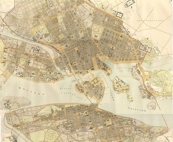 Stockholm Poster featuring the drawing Vintage Map Of Stockholm by CartographyAssociates