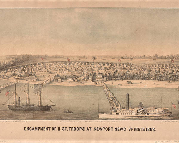 Newport News Poster featuring the drawing Vintage Pictorial Map Of Newport News Va - 1862 by CartographyAssociates