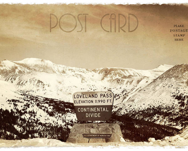 Background Poster featuring the photograph Vintage Style Post Card From Loveland Pass by Juli Scalzi