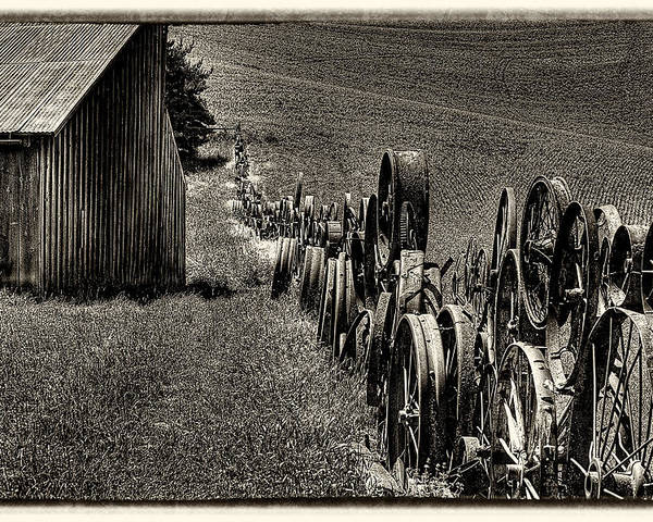 Wagon Wheels Poster featuring the photograph Vintage Wheel Fence by David Patterson