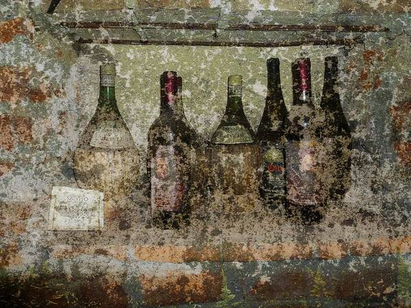 Wine Poster featuring the photograph Vintage Wine Bottles - Tuscany by Jen White
