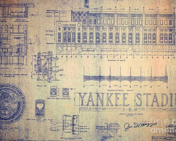Joe Dimaggio Poster featuring the drawing Vintage Yankee Stadium Blueprint by Peter Ogden Gallery