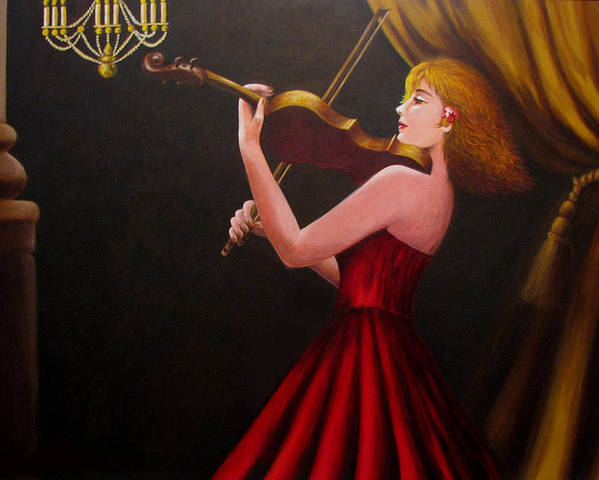 Oil Poster featuring the painting Violinist by Anh T Chau