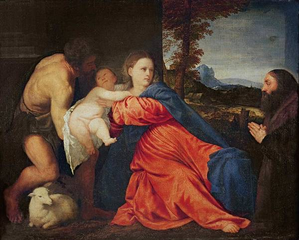 Virgin Poster featuring the painting Virgin And Infant With Saint John The Baptist And Donor by Titian