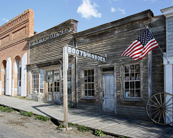 Montana Poster featuring the digital art Virginia City Ghost Town - Montana by Daniel Hagerman