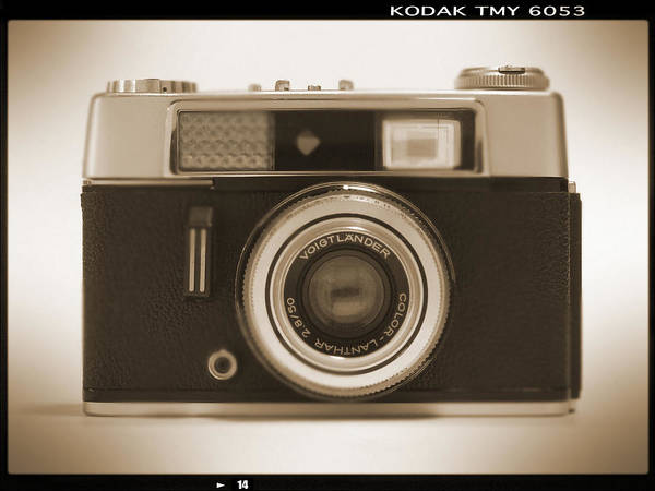 Vintage 35mm Camera Poster featuring the photograph Voigtlander Rangefinder Camera by Mike McGlothlen