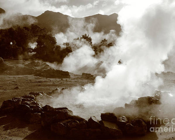 Azores Poster featuring the photograph Volcanic Steam by Gaspar Avila