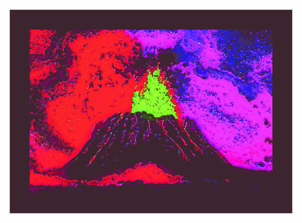 Poster featuring the digital art Volcano Dd4 Border by Modified Image