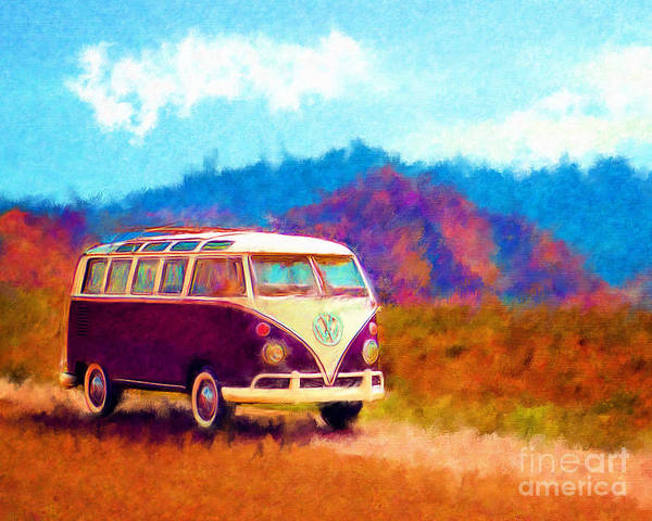 Automobile Poster featuring the digital art Vw Van Classic by Marilyn Sholin